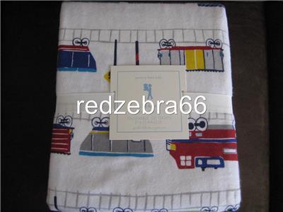 Pottery Barn Kids Train Full Sheet Set 4 Pc Flannel