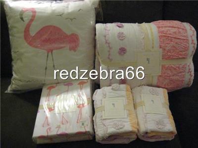 Pottery Barn Kids Bailey Ruffle Full Quilt Shams Flamingo