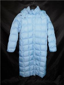 4f42941a2 Details about Lands End L Light Blue Down Parka Full Length Winter Coat  Quilted Hood ZIp Snap