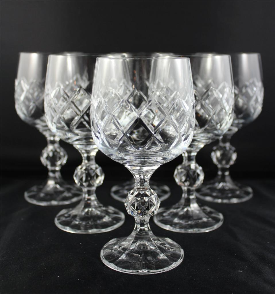 Stunning Bohemia Diamond Cut Crystal Wine Glasses