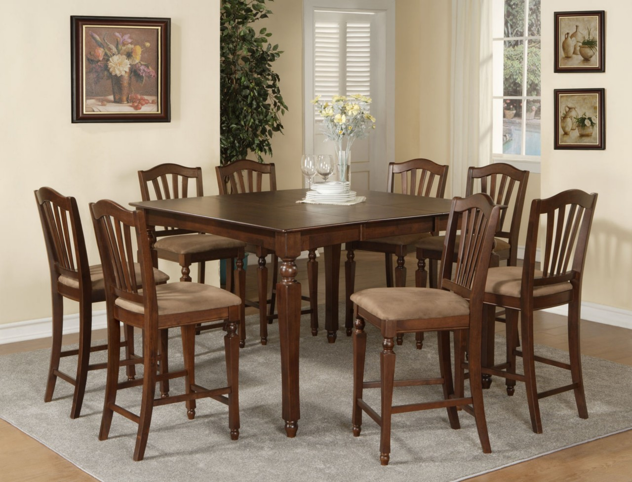 square dining room tables for 8 | 9PC CHELSEA SQUARE COUNTER HEIGHT DINING ROOM TABLE SET 8 ...