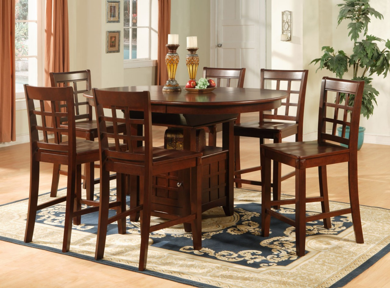 OVAL COUNTER HEIGHT DINING SET 7PC TABLE & 6 BAR STOOLS