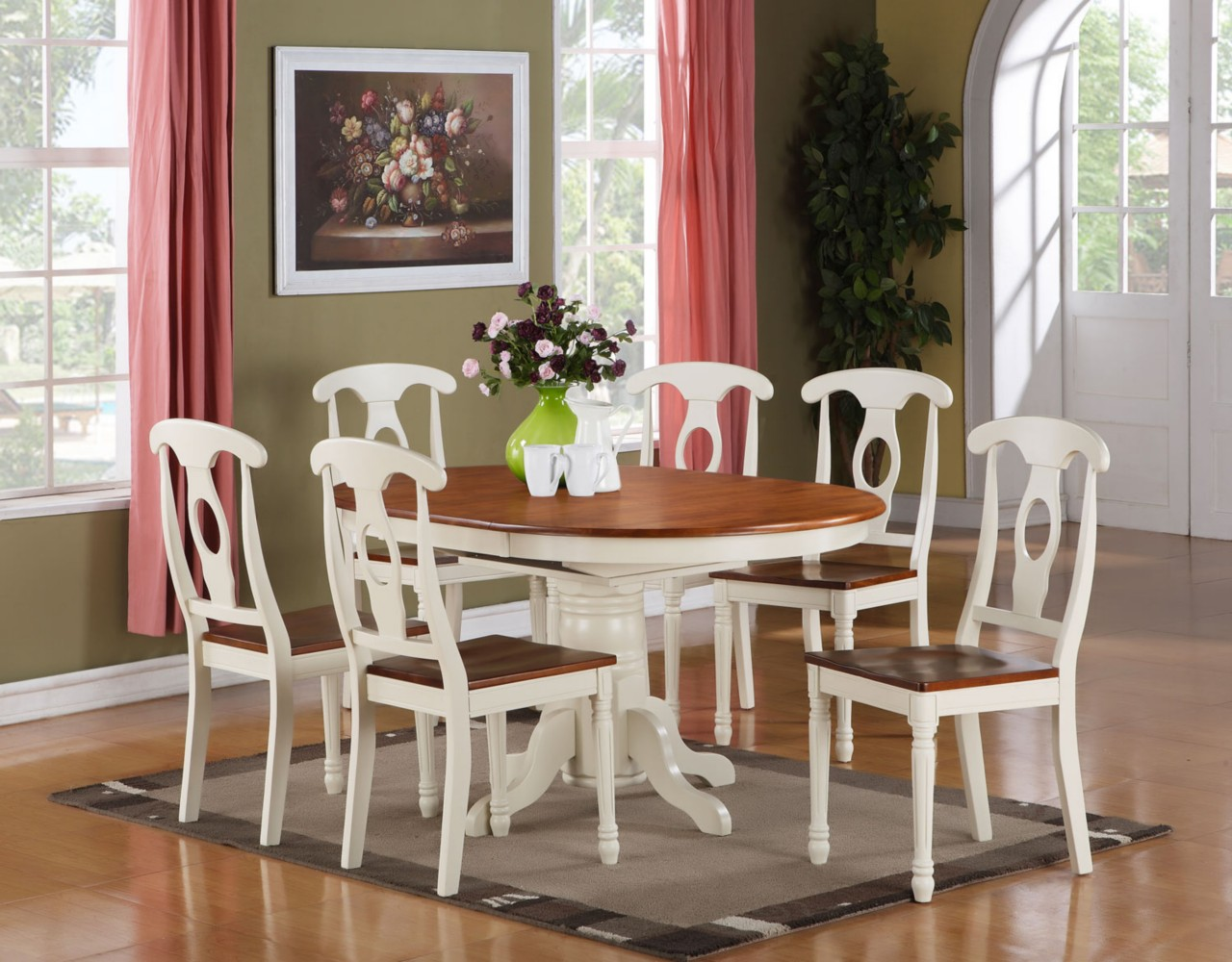 7 pc kenley oval dinette dining room set table with 6 chairs in buttermilk brown ebay. Black Bedroom Furniture Sets. Home Design Ideas