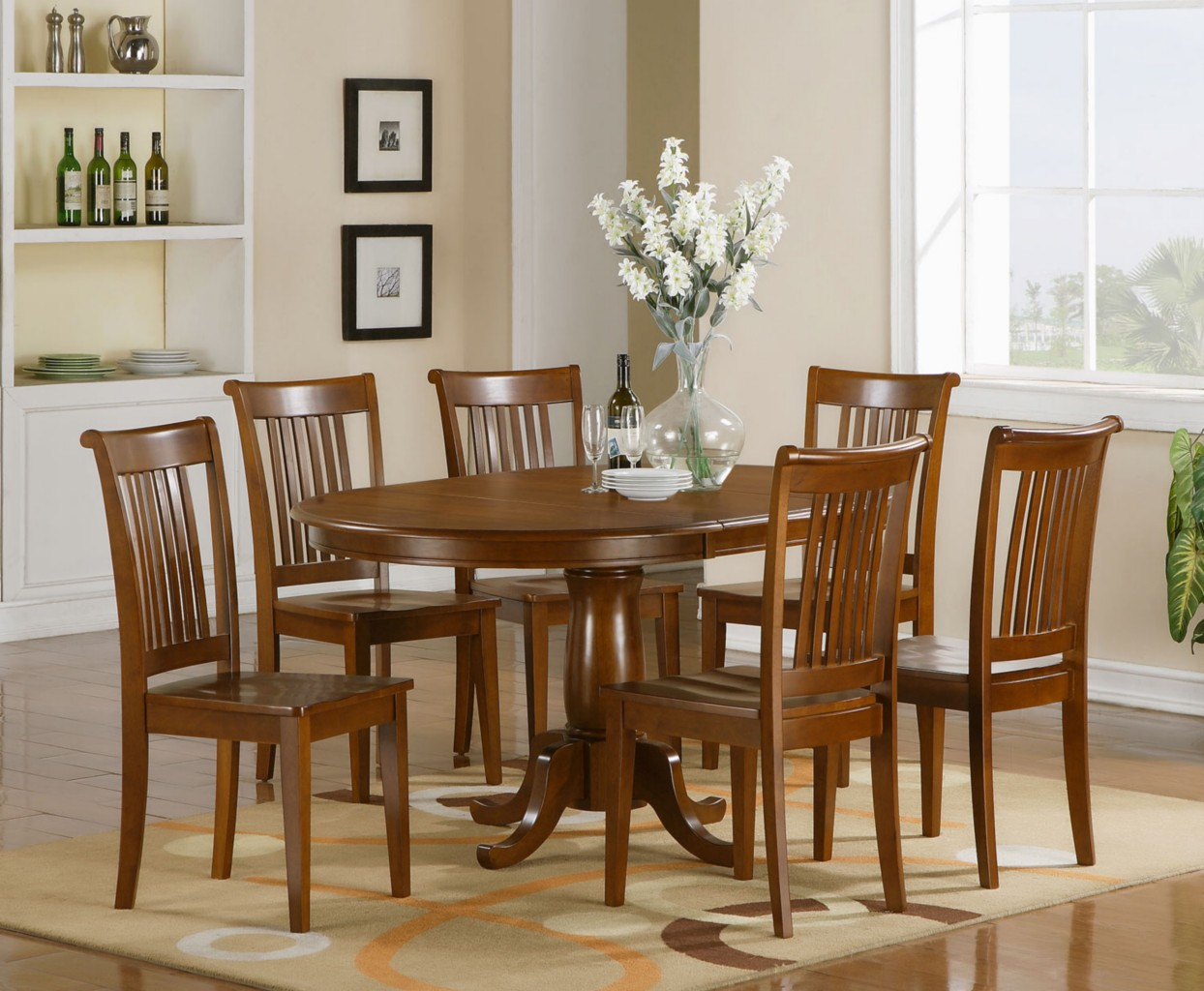 7 pc oval dinette dining room set table and 6 chairs. Black Bedroom Furniture Sets. Home Design Ideas