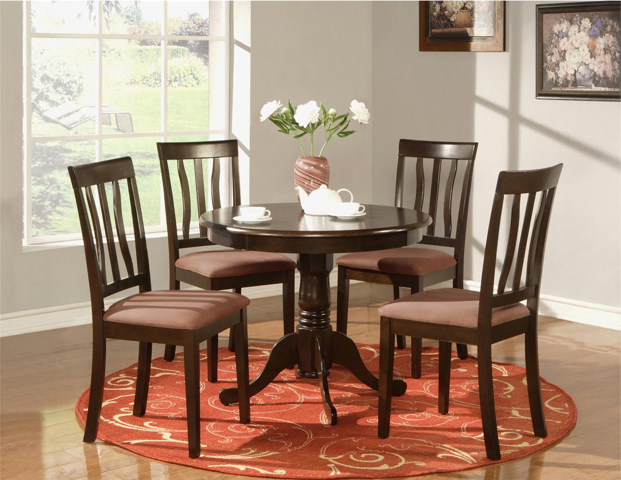 5 PC ROUND TABLE DINETTE KITCHEN TABLE AND 4 CHAIRS
