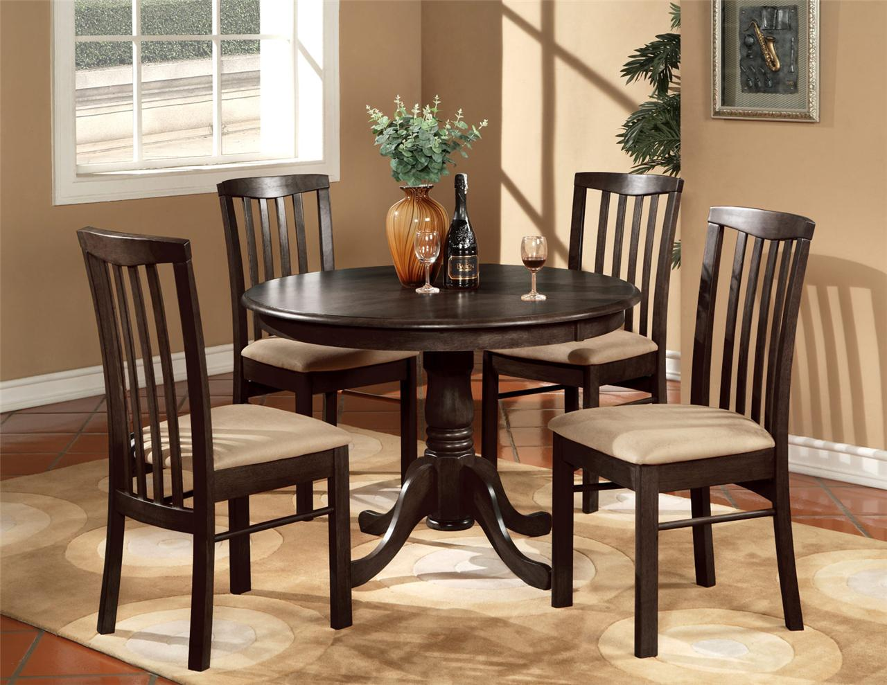5pc Round 42 Quot Kitchen Dinette Set Table And 4 Wood Or