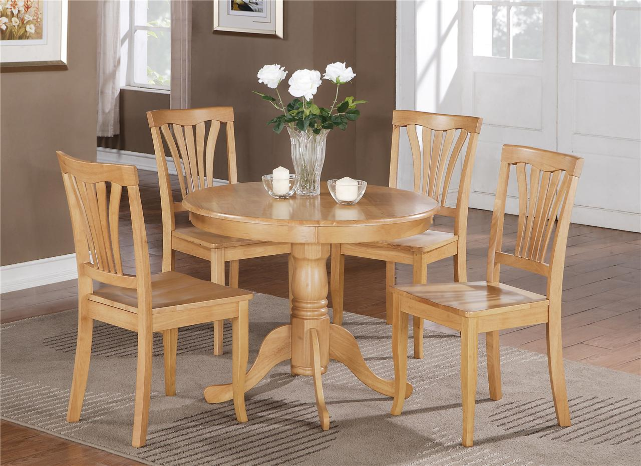 Round Table For 4 Diameter: 5 PC ROUND BRISTOL TABLE DINETTE KITCHEN TABLE & 4 CHAIRS