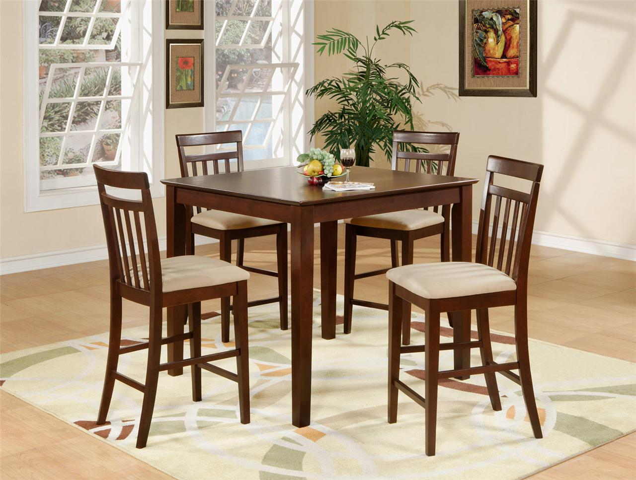 5pc square pub counter height dining table 4 padded chairs stool in mahogany ebay. Black Bedroom Furniture Sets. Home Design Ideas