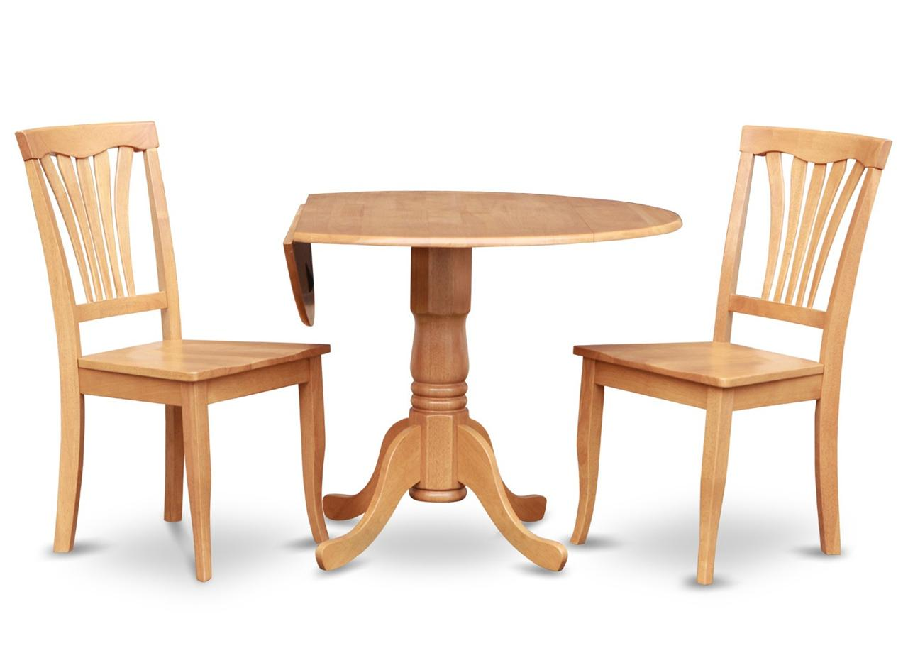"Round Wooden Kitchen Table Sets: 3PC DINETTE KITCHEN SET ROUND 42"" TABLE & 2 WOOD SEAT"