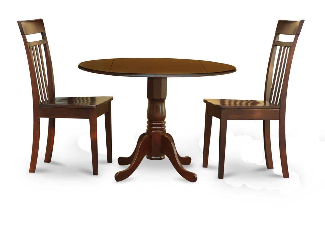 """3PC 42"""" ROUND DINETTE KITCHEN DINING TABLE & 2 PLAIN WOOD"""