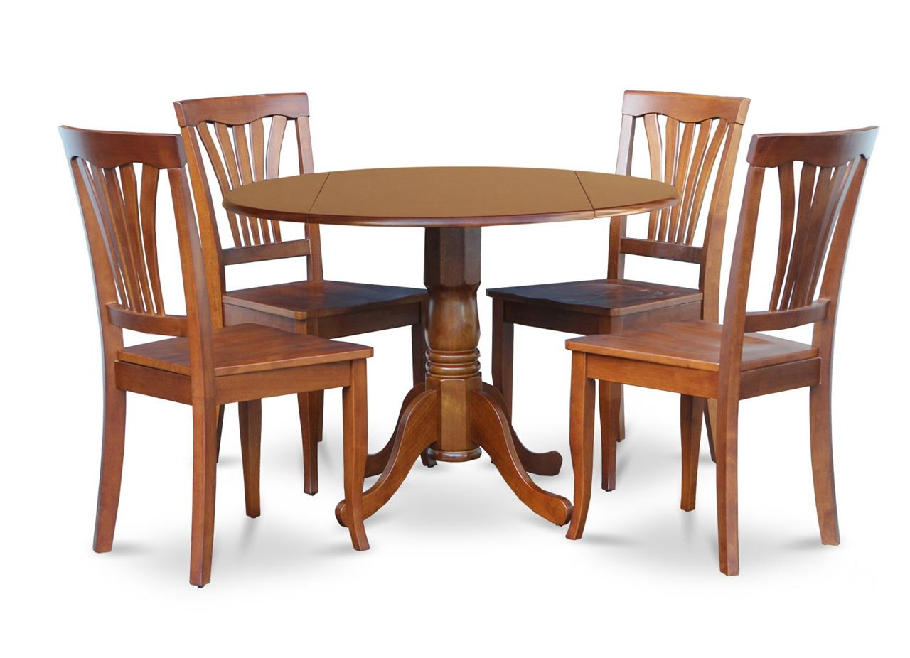 """5PC DINETTE KITCHEN DINING SET ROUND 42"""" TABLE & 4 WOOD"""