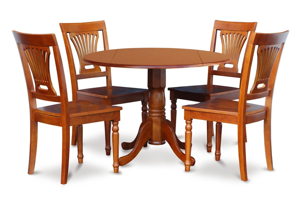 "Set Of 3 Wooden Tables: 5PC 42"" ROUND DINETTE DINING TABLE With 4 PLAIN WOOD SEAT"