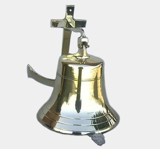 "Solid Cast Brass Ship/'s Bell 6/"" Nautical Marine Doorbell Hanging Wall Decor New"