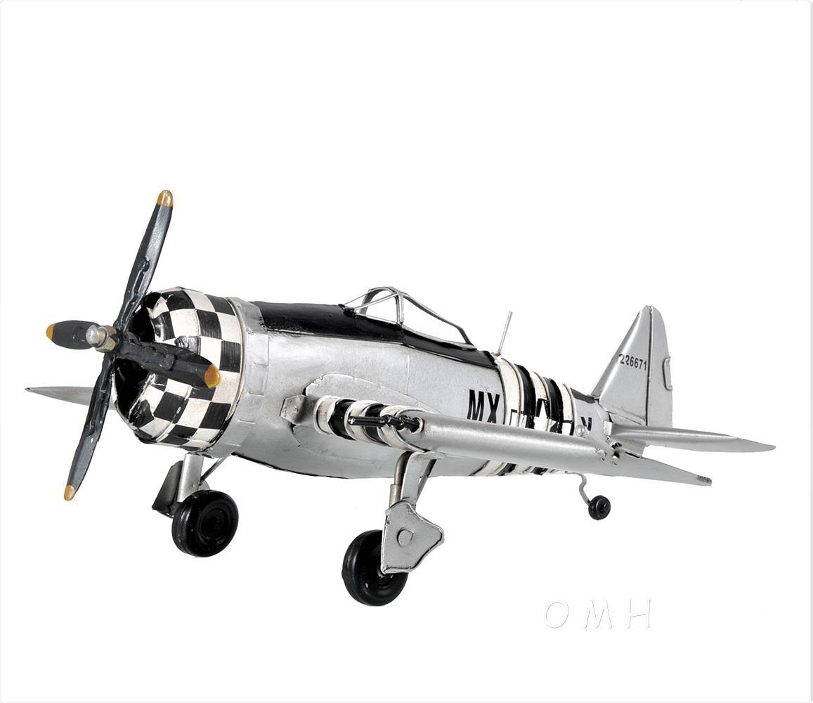 "Grumman F6F Hellcat Fighter Aircraft Metal Desk Model 12/"" WWII Airplane Decor"