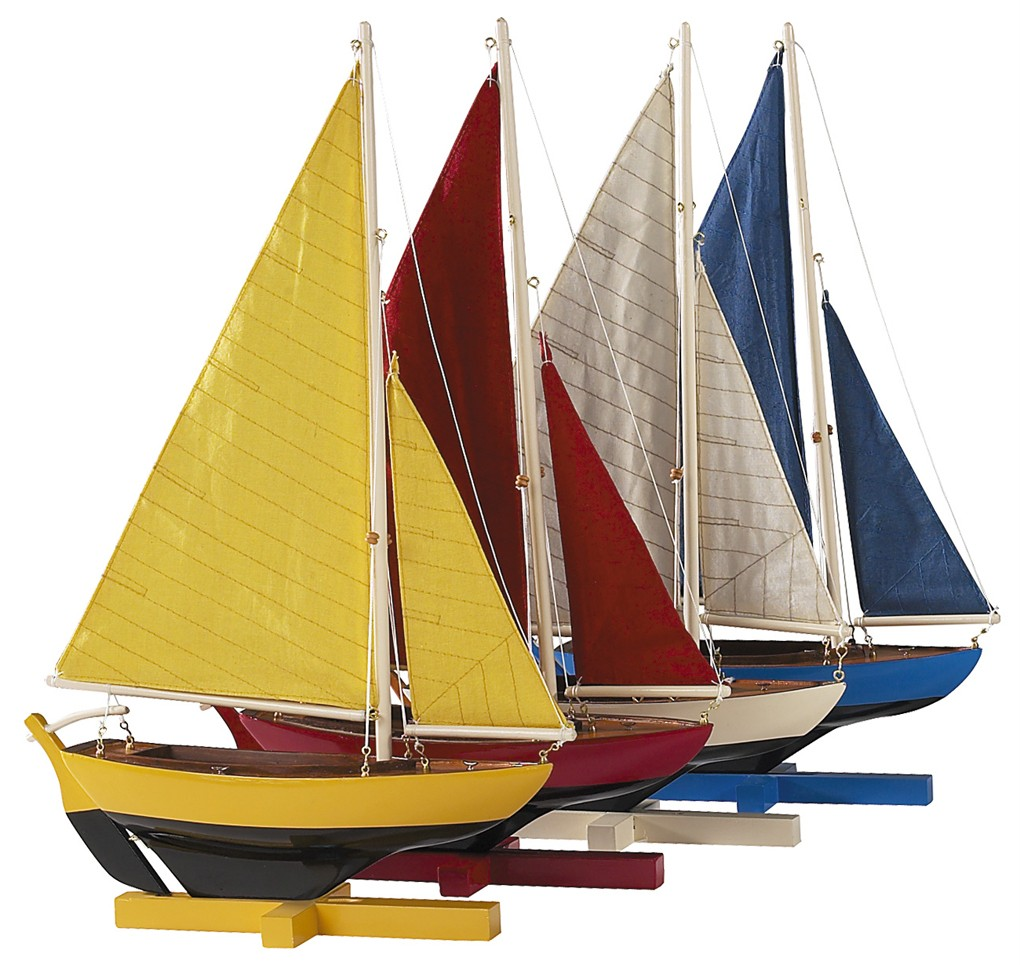 Details about Colorful Sunset Sailors Set of 4 Sailboat Models Nautical  Sailing Dinghy Decor