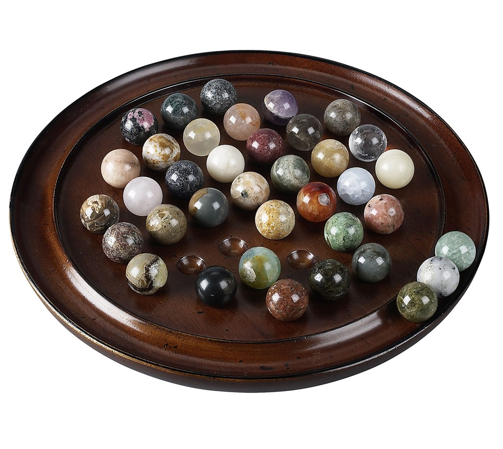 Solitaire Wooden Game Solid Gemstone Marbles 20mm 0 787