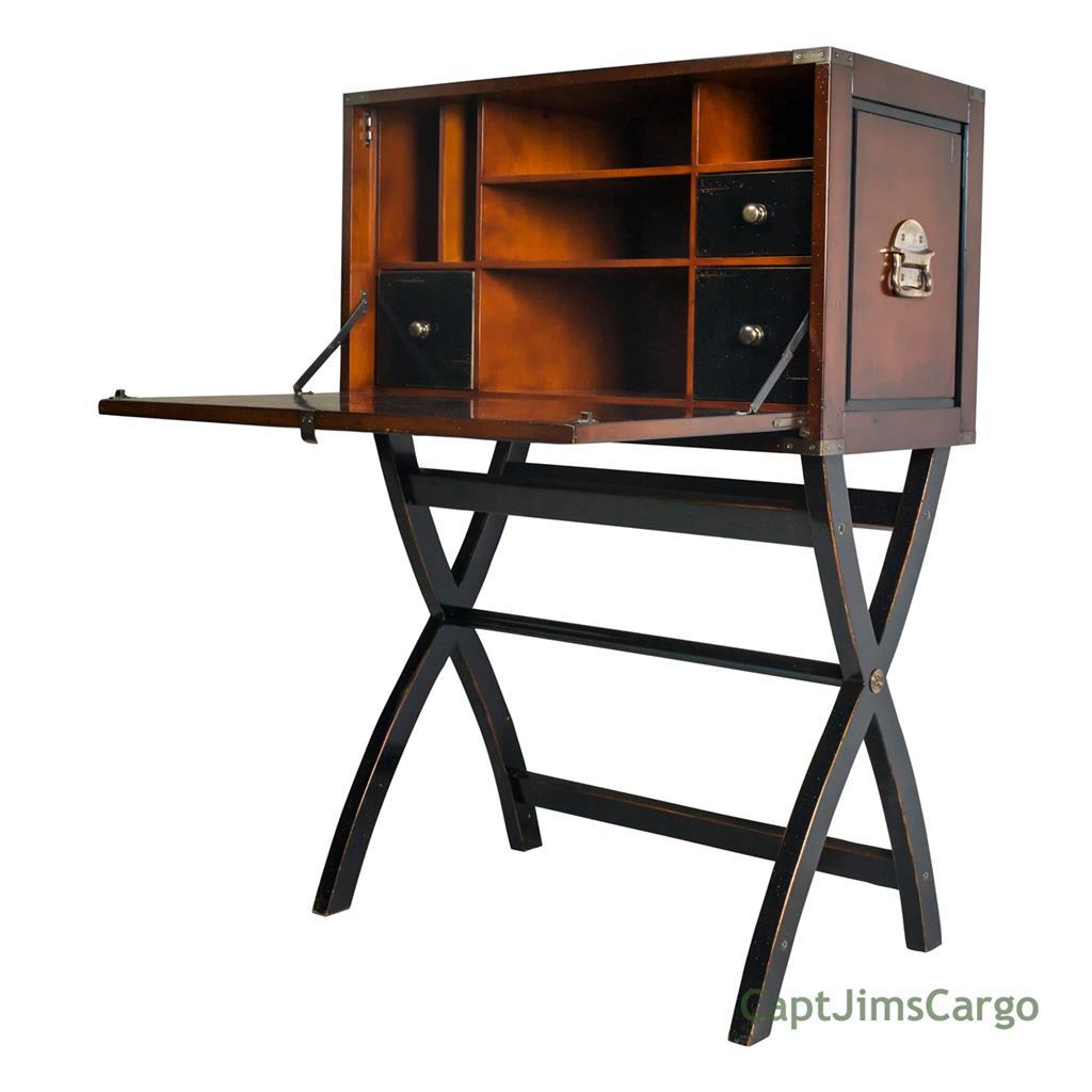 "Details about Campaign Cabinet Hidden Computer Desk Combo 45"" Black & Honey  Nautical Decor New"