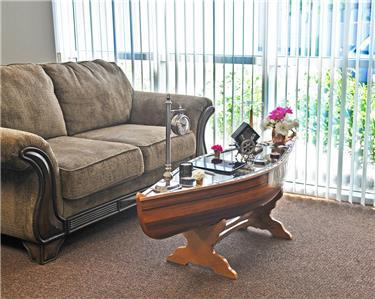 "canoe coffee table glass top 59.5"" cedar wood strip built nautical"