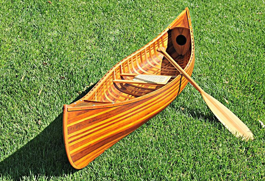 Display Cedar Strip Built Canoe Wooden Flat Matte