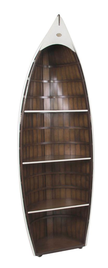 Bosuns Gig White Row Boat Bookcase Bookshelve Nautical Decor