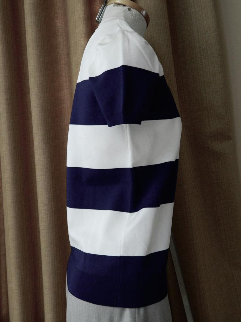 Ralph Lauren Sweater Purple Label Navy Ivory Ivory Ivory Viscose Short Sleeve Runway M 1ceabd