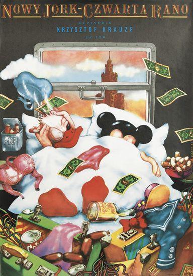 Polish Movie Poster Disney Mickey Mouse Donald Duck Satire