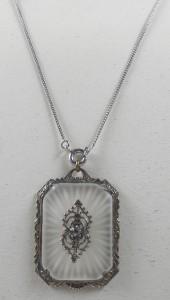 Vtg Large Art Deco Camphor Glass Pendant Sterling Necklace