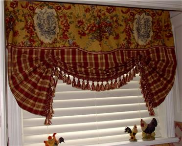 French Country Valance Balloon Shade Curtain Red Gold