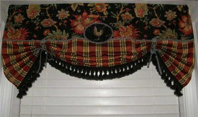 Valance French Country Curtain Tie Up Balloon Shade Red