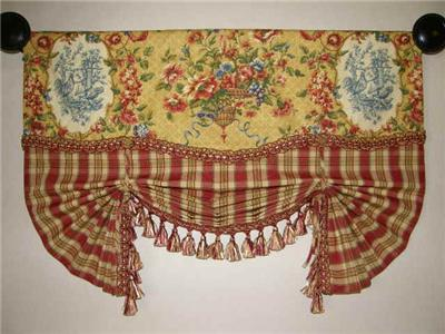 French Country Valance Tie Up Balloon Curtain Red Gold