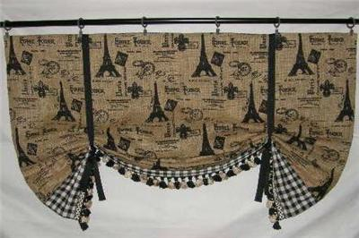 French Country Paris Market Tie Up Shade Valance Curtain