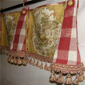 Custom Swag Valance French Country Red Gold Rooster Toile