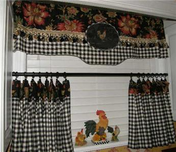 French Country Provence Valance Curtain Jacobean Floral