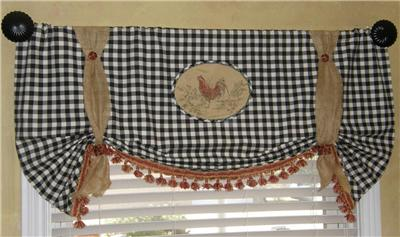 Custom Tie Up Balloon Valance Curtain French Country