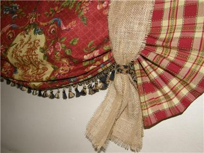 French Country Provence Tie Up Valance Curtain Rooster Red
