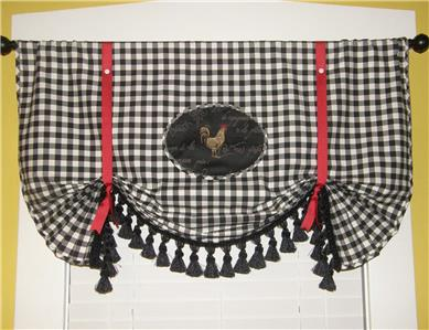 French Country Red Tie Up Black Rooster Plaid Check