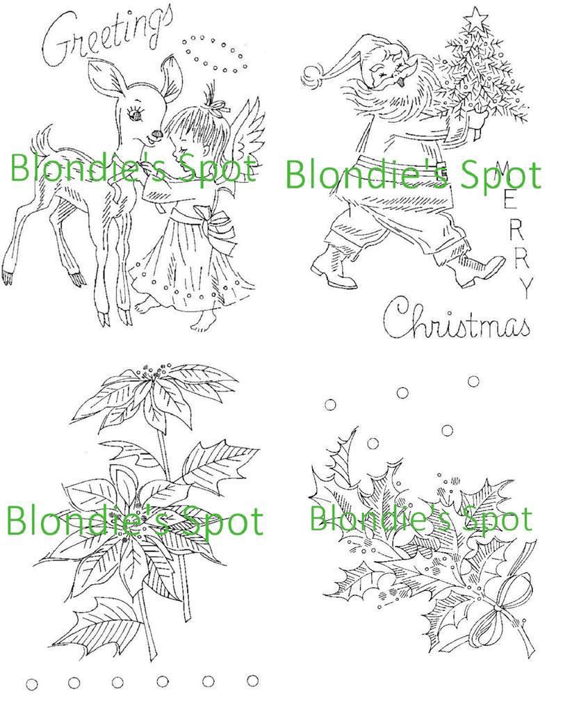 Hand Embroidery Transfer 975 Christmas Holly Poinsettia Santa Clause Angel Deer