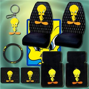 8 Pieces Brand New Tweety Bird Seat Covers Steering Wheel Cover Keychain And Floor Mat Set