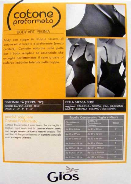 BODY donna CONTENITIVO MODELLANTE FERRETTO GIOS GIORGIA 3B//6B bianco nero