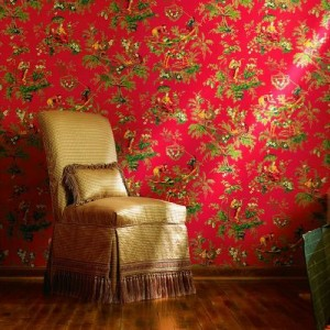 Wallpaper High End Asian Oriental Multi Color Toile Red