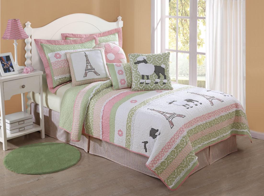 Bedroom Parisian Bedroom Decor: Girls Quilt Poodle Paris EiffelTower Pink Green Bedding