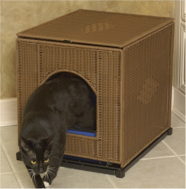 Cat Litterbox Cabinet Plastic Wicker Rolling Cover Litter