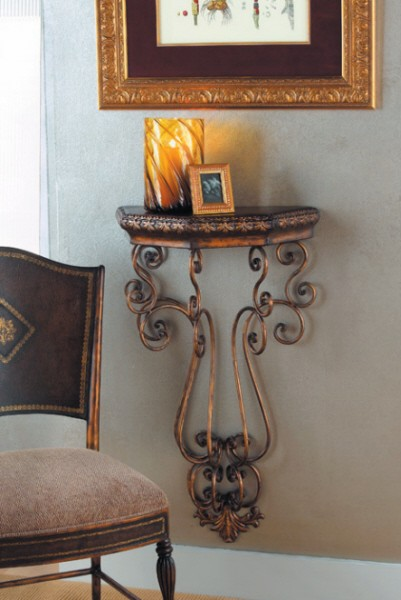 wall mounted table scroll accent iron shelf metal ebay. Black Bedroom Furniture Sets. Home Design Ideas