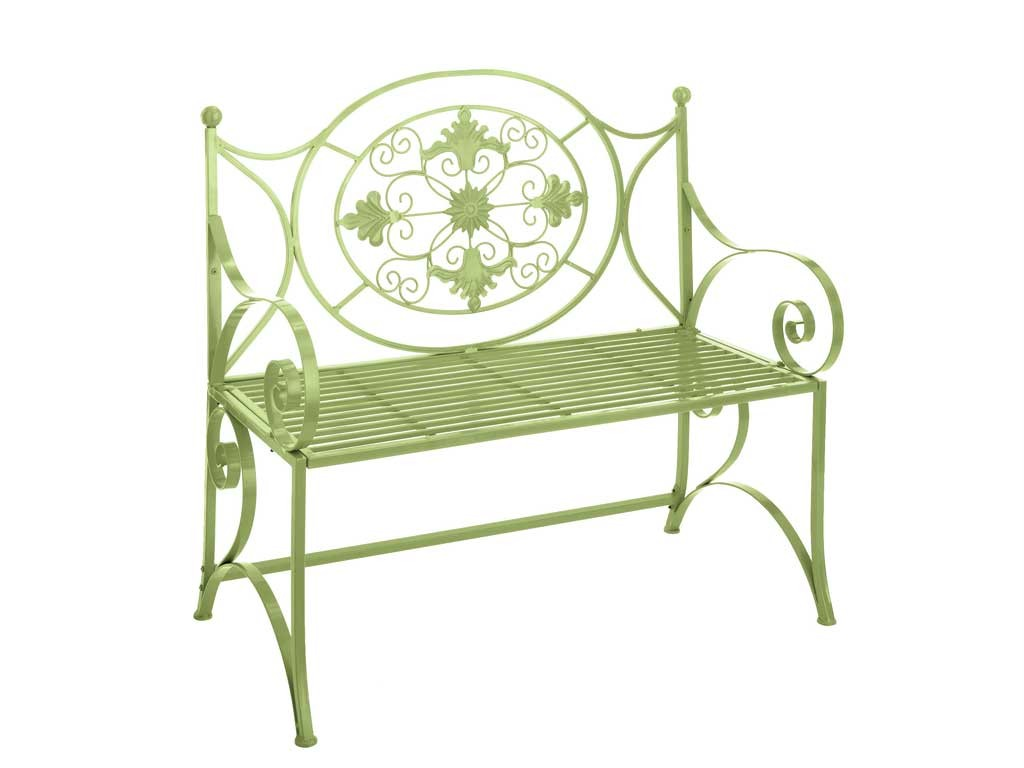 Garden Bench Seat Grill Wrought Cast Iron Painted Lime