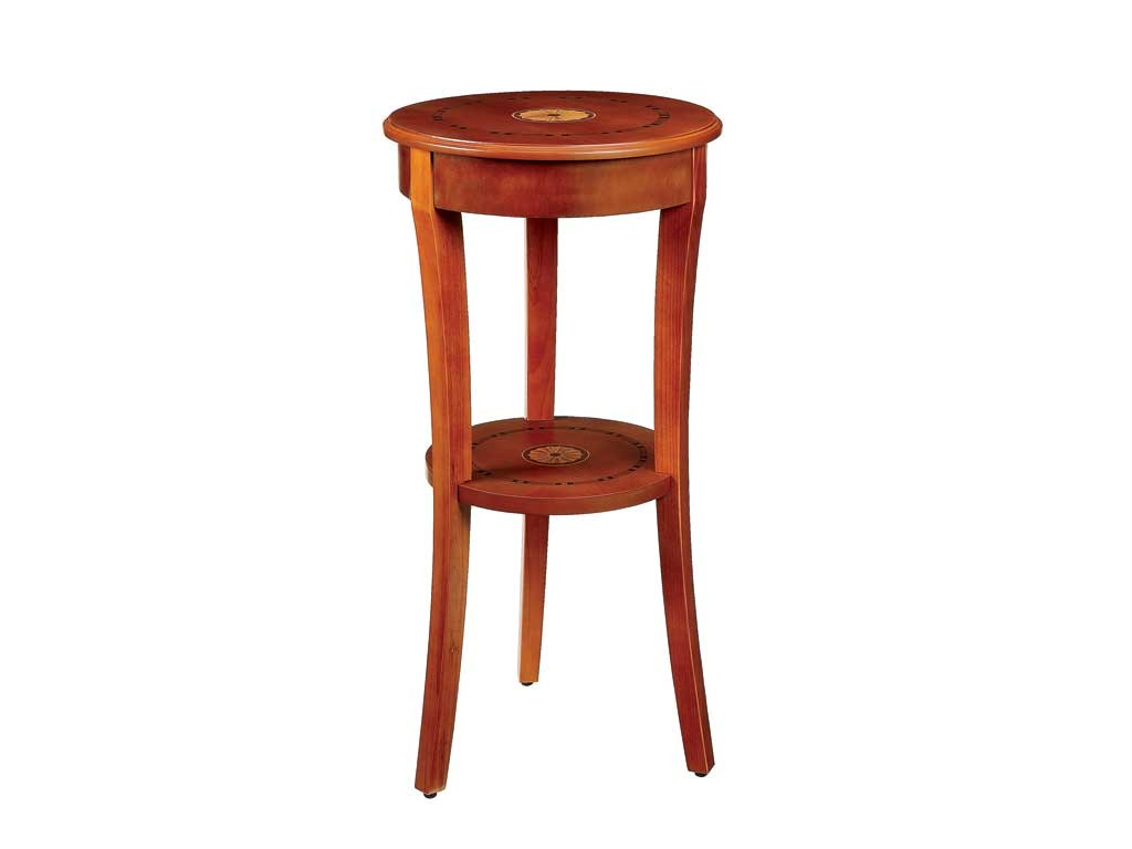 Marquetry Inlaid Tall Round Wood Accent Table Pedestal