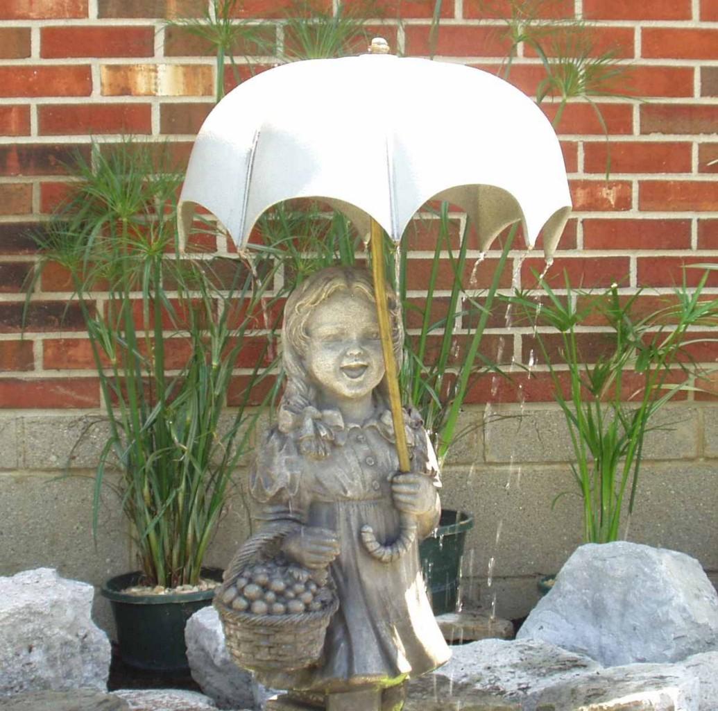 Stsatuette For Outdoor Ponds: Girl Statue W/ Umbrella Fountain-pond/water Garden/yard