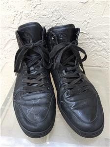 096ca275f40 GUCCI MENS GG IMPRIME LACE UP HIGH TOP BLACK LEATHER SNEAKERS STYLE 224778  SZ 10