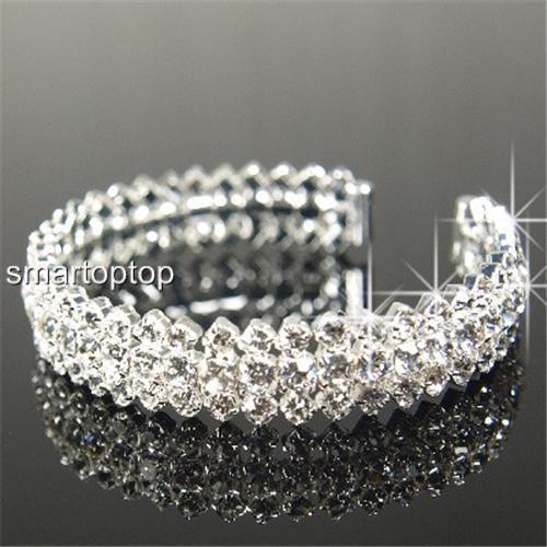 SALE Bridesmaid Prom Simulated Diamond Silver Gold Bracelet Xmas