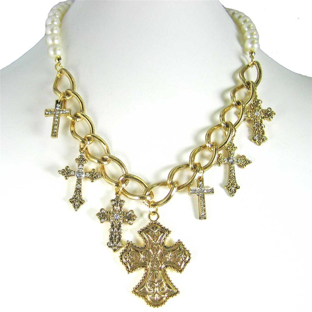Dangling Cross Bracelet: CREAM PEARL GOLD LINK DANGLE CRYSTAL CROSS NECKLACE