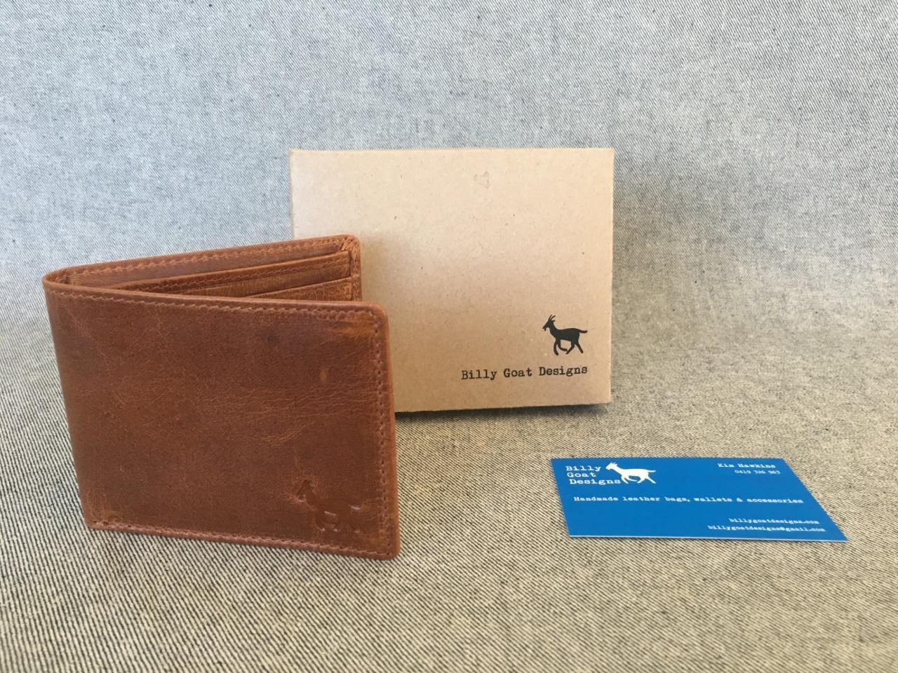 NEW-Waxed-Buffalo-Leather-Bifold-W2A-Wallet-men-card-Men-039-s-Billy-Goat-Designs